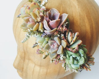 Succulent Bridal Halo // Succulent Crown // Purple and Mint Flower Crown