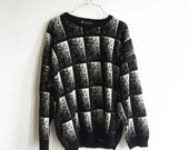Vintage Black and White Geometric Square Pixelated Sweater, 90s Knit Pullover