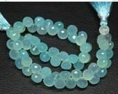 VALENTINE SALE 55% Aqua Seafoam Chalcedony Faceted Onion Beads, 6 beads, 9mm, SKU3710A