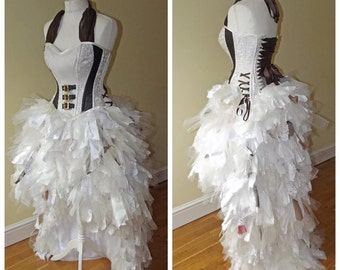 Steampunk punk alternative wedding dress/ prom sexy corset bustle gothic clothing. Custom MADE TO ORDER/ measure