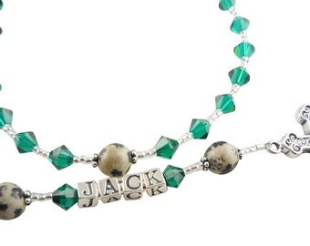 Baptism Rosary- Christening- Communion Name Rosary, emerald green-prayer beads- personalized-swarovski crystal birthstone-gemstone-godparent