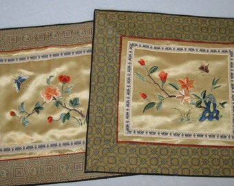 Embroidered Silk Panels / Set of Two Chinese Silk Panels / Vintage Textiles