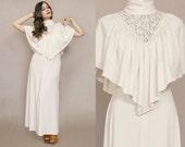 70s Cape Dress Cream Crochet Lace Victorian Drape Maxi Goddess 1970s Hippie Lace Neckline Boho Capelet / Size S Small