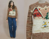 Mickey Mouse Sweater 70s Space Dyed Ski Sweater Cabin Kennington Brown Winter Novelty 1970s Hippie Boho / Size M Medium