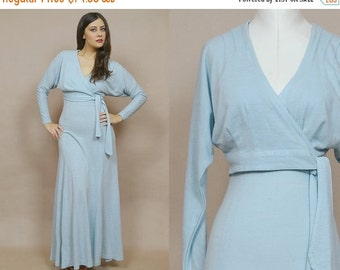 50% OFF SALE Tank Dress 70s Maxi Two Piece Crop Top Racerback Pastel Blue Tie Front Top Powder Blue  1970s Flared Skirt / Size S Small
