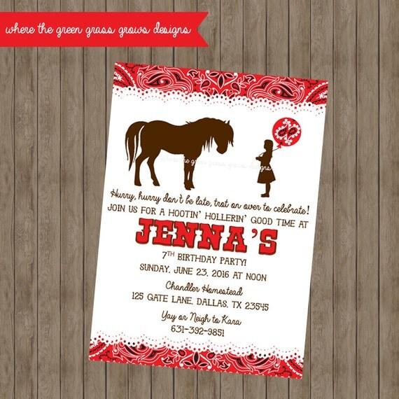 Western Pony Invitations - Printable