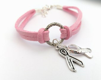 Pink Charity Awareness Bracelet, Breast Cancer Awareness