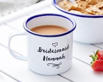 Personalised Bridesmaid Enamel Mug