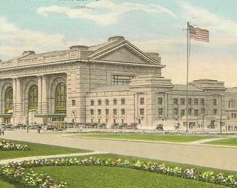 Kansas City Missouri Union Station Vintage Postcard 1930