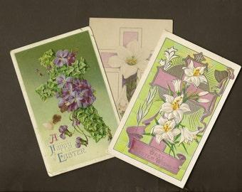 Trio of Vintage Easter Postcards Floral Crosses 1910s – Spring Celebration – Perfect for Framing