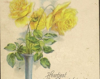 Yellow Roses in Tall Blue Vase – Unused Vintage Birthday Postcard Heartiest Congratulations Wish