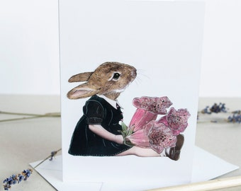 Rabbit girl with foxgloves note card