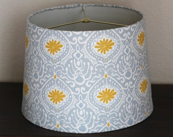 Yellow & Grey Blue Large Modern Drum Lamp Shade
