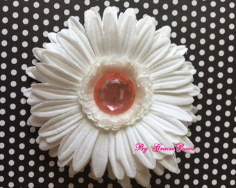 White with Pink Bling Gerbera Daisy Hair Clip