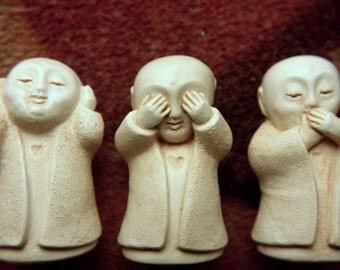 THREE  IVORY JIZO... statue  o jizo bodhisattva buddha sculpture zen  protection..babies pets