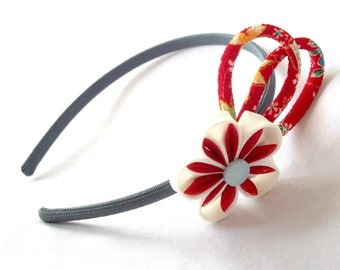 Fun Red and Gray Flower Headband with Chirimen Crepe Cord Accents Wearable Fiber Art
