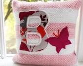 Crochet Pillow Pink/White/Grey Butterfly, Initial, Petite Nursery Pillow, 10 x 10