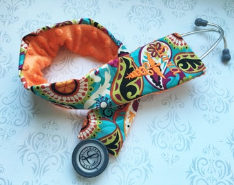 Embroidered Medical Stethoscope Cover - RN, Registered Nurse - Gift for Nurse - Paisley Pop with Orange