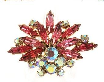 20% OFF SALE - Vintage Rose Navette and Crystal Aurora Borealis Rhinestone Brooch