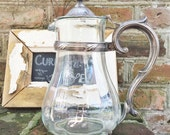 Vintage 1929 Silver Framed Glass Pitcher from Chalfonte-Haddon Hall Hotel in Atlantic City