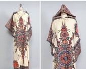 4 DAY SALE / Boho Maxi Dress S/M • Hooded Dashiki • Dashiki Dress with Hood • Cotton Caftan • Boho Caftan • Bach Caftan • Ethnic Dress | D90