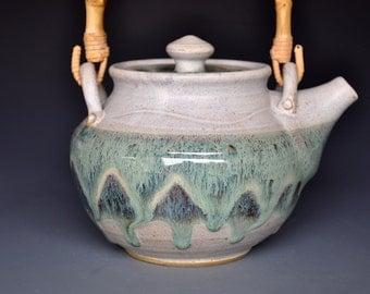 Stoneware Pottery Teapot Ceramic Teapot Aquamarine Handmade Pottery Teapot B