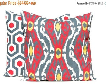 SALE Red Pillow Covers - Red, Gray and Gold Throw Pillow Cover, Red Pillow Shams - Decorative Throw Pillow Cover - Pair of Two - Honeycomb