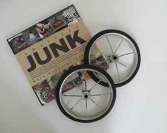 Vintage Metal Spoke Wheels - Two in Lot - Rubber Rim - Industrial, Garden Decor - Assemblage Art