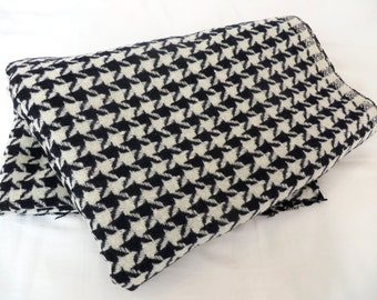 Vintage Black and White Houndstooth Wool Fabric 4.4Yards/Mod Houndstooth Wool/Black and White Houndstooth Plaid Wool