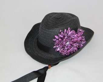 Girls Cowgirl Hat -  Black Hat - Black and Mauve Flower Bow - Girls Cowboy Hat - Western Girls Hat - Party Favor - Girls - Style CB1609