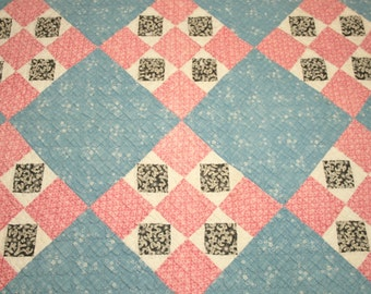 Blue, Black and Double Pink Calico 1800s Antique Quilt Piece with Homespun Backing - 27 x 18 Inches