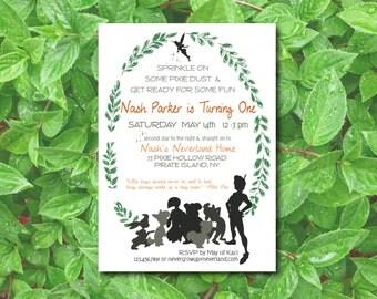 Peter Pan 1st Birthday Invitation / Baby Shower Invite / Neverland and Lost Boys  / Boys Birthday / Rustic Woodland Birthday / (Printable)