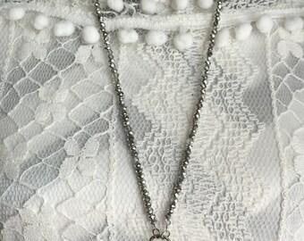 Long beaded necklace, chandelier oendant, chandelier necklace, hand made, crystal necklace, glass chandelier pendant, beaded necklace
