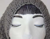 "Knitted ""Gray"" Beanie, Slouchy Head Accessory, Boho-chic*** FREE SHIPPING (USA address only)"