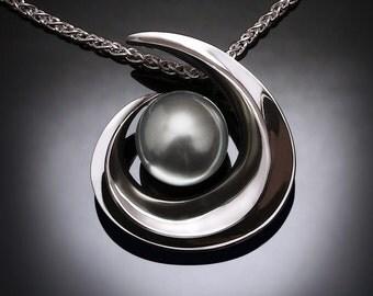 Tahitian pearl, black pearl, statement necklace, June birthstone, artisan pendant, Argentium silver pendant, Tahitian cultured pearl - 3329