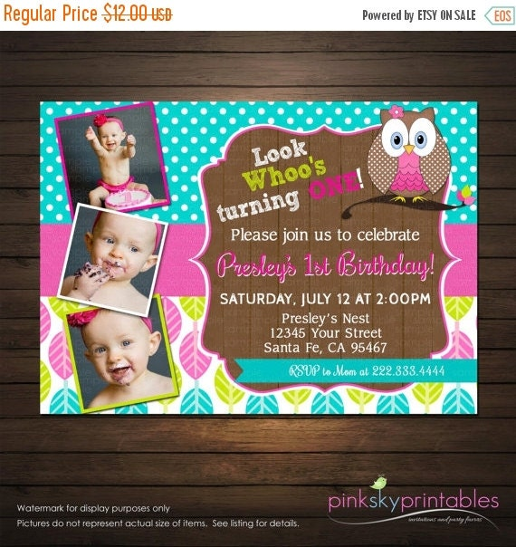 SALE Owl Birthday Invitation , Pink and Teal Owl Birthday Party Invitation, Printable
