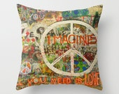 The Beatles Pillow Cover, John Lennon, Peace Sign, Imagine, All You Need is Love
