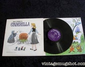 1969 Walt Disney CINDERELLA Vintage Vinyl lp Disneyland Records 3908  Album With Book