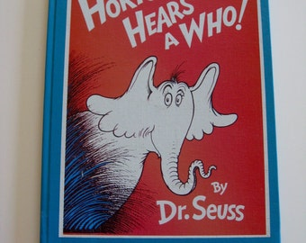 """Horton Hears A Who  Hardcover Dr. Seuss Book 8 """"x 11"""" Library Bound To Stay Edition 1980's"""