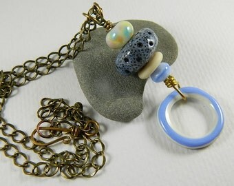Stacked Pendant Necklace with Enameled, lampwork, and Ceramic Beads