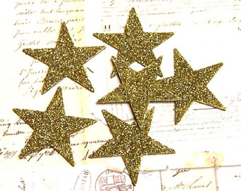 GOLD Stars 2 inch Glass Glitter Chips Set of 6