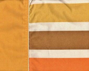 Vintage '70s Retro Cannon Royal FamilySet of Two Featherlite Standard Striped Pillowcase Harvest Gold White & Orange Stripes