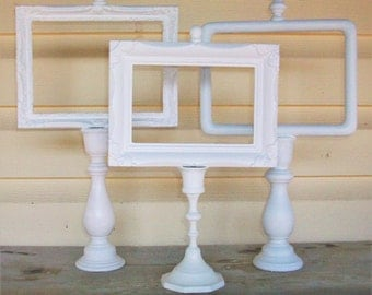 3 Shabby Chic Bright White Candle Stick Picture Frames