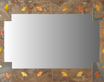 GINKGO LEAF MIRROR, Decorative Mirror, Arts and Crafts, Rustic Mirror, Slate Mirror, Mission Style