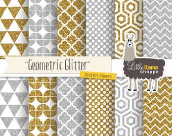 Gold and Silver Geometric Digital Paper, Glitter Scrapbook Paper, Gold & Silver Digital Backgrounds, Commercial Use, Bling