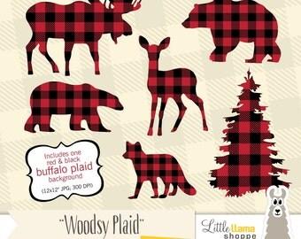 Buffalo Plaid Clipart, Animal Silhouette Clipart, Moose Silhouette, Deer Silhouette, Lumberjack Clipart, Fox Silhouette Clip Art