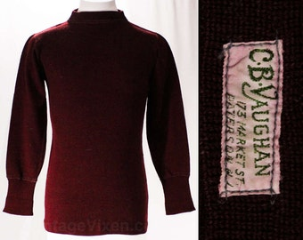 Vintage 1930s Boy's Wool Sweater - Boys Size 14 - Authentic 30s Winter Pullover - Burgundy Maroon Wine Merlot Dark Red - Chest 32 - 47280