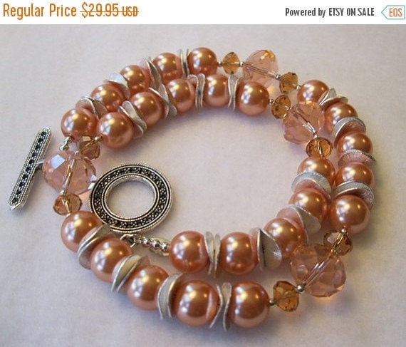 On Sale Orange Pearls and Crystals Necklace