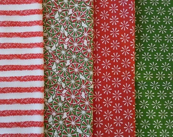 Four Christmas Print Fat Quarters, Candy, Flowers, Stripes, Fabric Bundle X0537