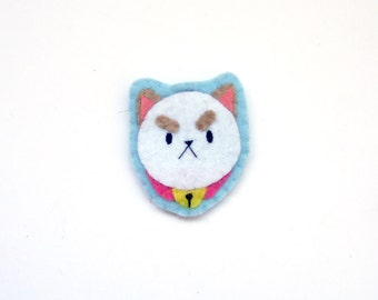 Puppycat pin from Bee and puppycat. puppy cat pins cat brooches, felt pins, felted accesories